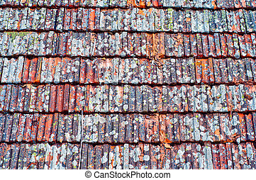 Roof tiles texture. Old weathered clay shingle roof.