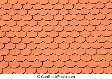 Roof tiles texture - Roof with bright red tiles