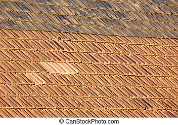 Roof tiles texture - Roof with old red tiles