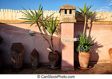 Roof top house terrace interior in Marrakech