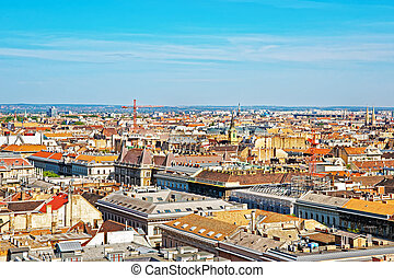 Roof top panoramic view of city center of Budapest