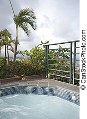 roof top hot tub plunge swimming pool luxury hotel old san juan puerto rico with view of bay of san juan