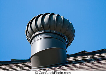 Roof top vent on house - Roof top whirly bird ventilation on...