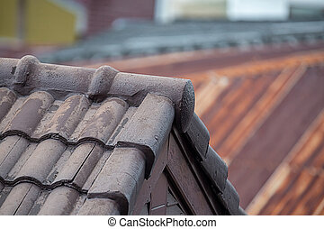 roof top view, gray tiled, old and ribbed