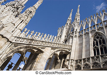 Roof top view of Duomo, Milan, Italy