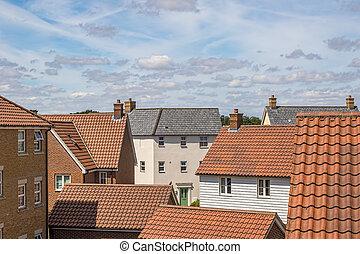 Roof top view of modern urban housing estate.
