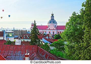 Roof top view on Jesuit Church of St Casimir Vilnius