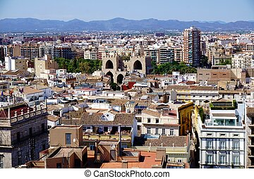 Roof top view over the city of Valencia