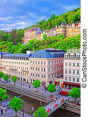Roof top view to Promenade in Karlovy Vary Czech republic