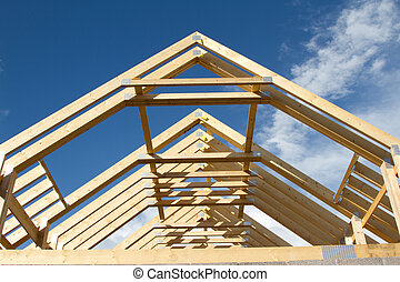 Roof trusses. - A new build roof with a wooden truss...