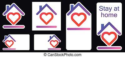 Roof under heart social media stickers.