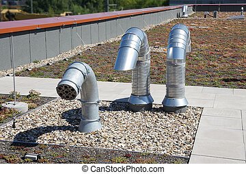 roof vent pipes - roof vent or ventilation pipes on flat...