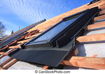 Roof window - Detail mounted skylight on the roof without...