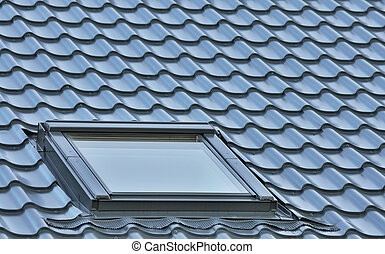 Roof window on a grey tiled rooftop, large detailed loft