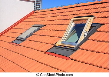 Roof windows - Two skylights fitted to the roof of burnt...