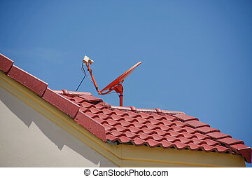 roof with a satellite dish - red roof with a satellite dish...