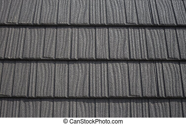 Roof with black bitumen shingles