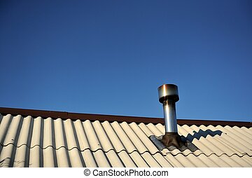 Roof with Chimney - A corrugated asbestos cement roof with a...