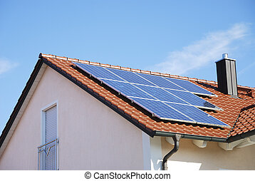 Roof With Photovoltaic System - House roof with...