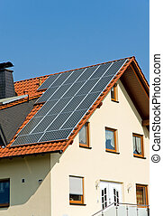 Roof with solar panels in Germany