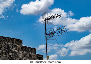Roof with two antennas, Matera, Italy