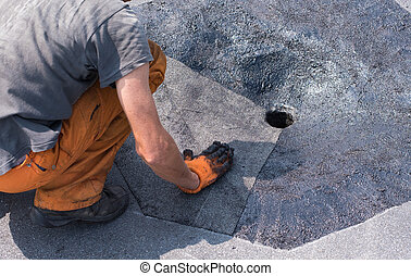 Roofer doing repair roof drain. - Roofer doing repair roof...