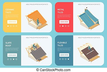Roofing contractor buildings roof construction materials 4 isometric web banners with ceramic metal flexible tiles vector illustration