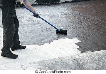 roofer, lavoratore, praimer, pittura