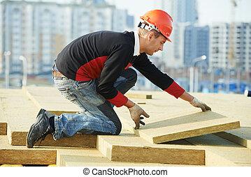 roofer, materiale, lavoratore, installare, tetto, isolamento
