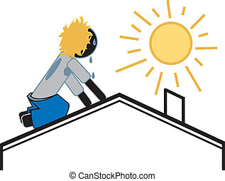 Roofer On a Hot Sunny Day - simple drawing of a roofer ...
