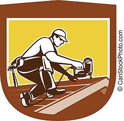 Roofer Roofing Worker Crest Shield Retro - Illustration of a...