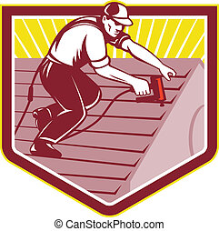 Illustration of a roofer construction worker roofing working on house roof with nail gun nailgun nailer done in retro style.