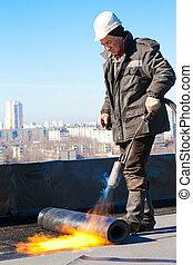 Roofer workman at work - Roofer man worker in helmet...