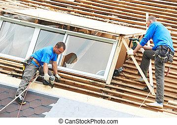 roofing, arbeit, mit, litze, dach