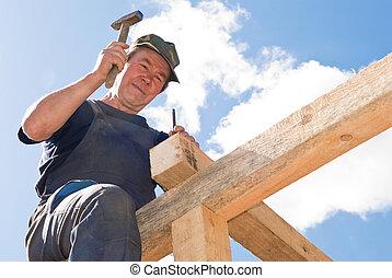 roofing, arbeiten, mit, hammer