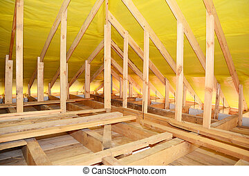 Wooden Roof Beams, Wooden Frame, Rafters, Trusses, House Attic Construction Interior
