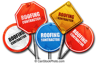 roofing contractor, 3D rendering, street signs
