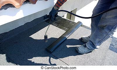 roofing, filz, dachdecker, schmilzender , bitumen, fackel,...