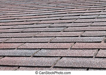 Close up view of roofing shingles