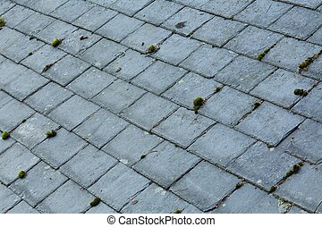 Roofing, slate roof background, UK