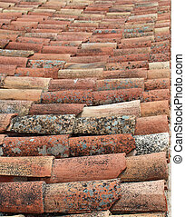 Roofing tiles - Transversal take of weathered portuguese...