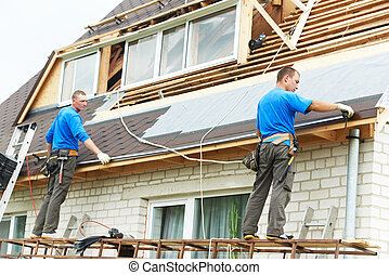 roofing work with flex roof - two workers on roof at works...