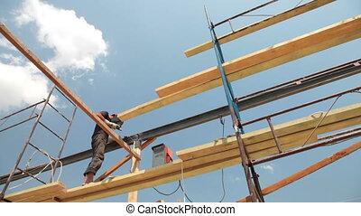 Roofing works - welder working