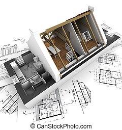 Roofless model house on architect blueprints