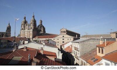 Salamanca - Roofs and Iglesia de La Clerecia, Salamanca,...