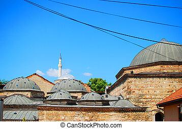 Roofs and minarets in Skopje, Macedonia, Balkans, Europe