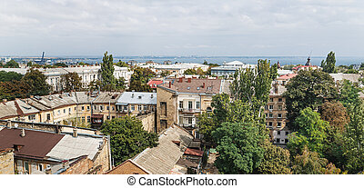 Roofs and old courtyards of Odessa - Aerial view of the ...