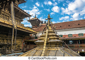 Roofs of an old Buddhist temple, Nepal. - Roofs of an old...