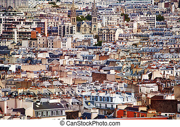Roofs of houses and churches Paris downtown