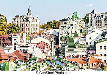 roofs of houses in Kiev on Vozdvizhenka